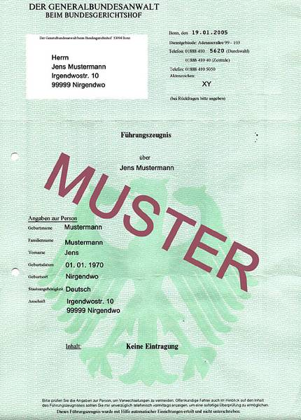 德国无犯罪记录证明